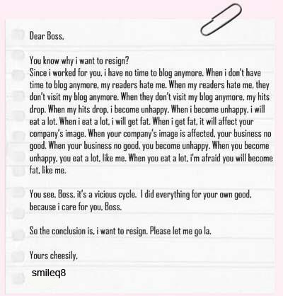 My Letter To Boss. | SmileQ8.Com